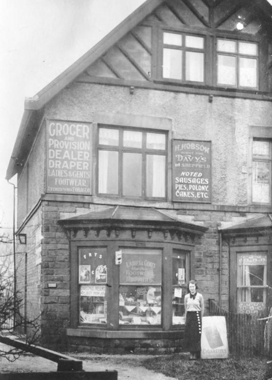 1920's Herbert Hobson's grocer's shop, Castleton Road with Kathleen Hobson